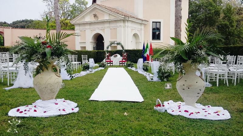 Allestimento matrimonio Castello di Torrimpietra